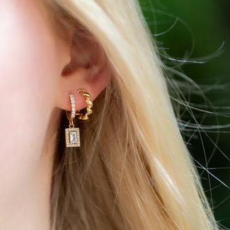 KARMA Gouden oorbellen zirconia hanger of gedraaid