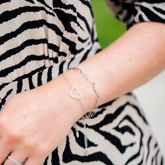 KalliKalli Dubbele schakelarmband of hartje zilver