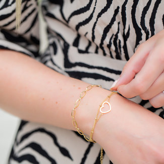 KalliKalli Dubbele schakelarmband of hartje goud