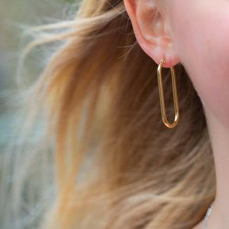 Go Dutch Label Goud oorbellen minimal rechthoek groot