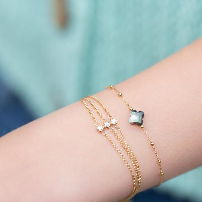 ZAG  Bijoux Armband met schelp klaver of steentjes