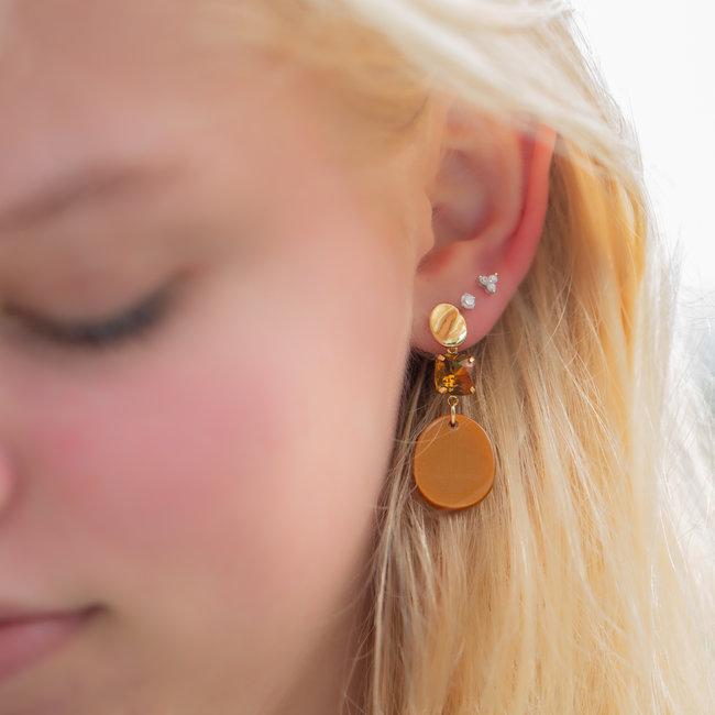 Biba Cognac oorbellen met mooie glimmer