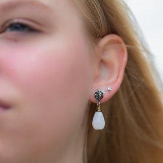 Zeeuws Zeeuwse knop oorbellen met witte druppel