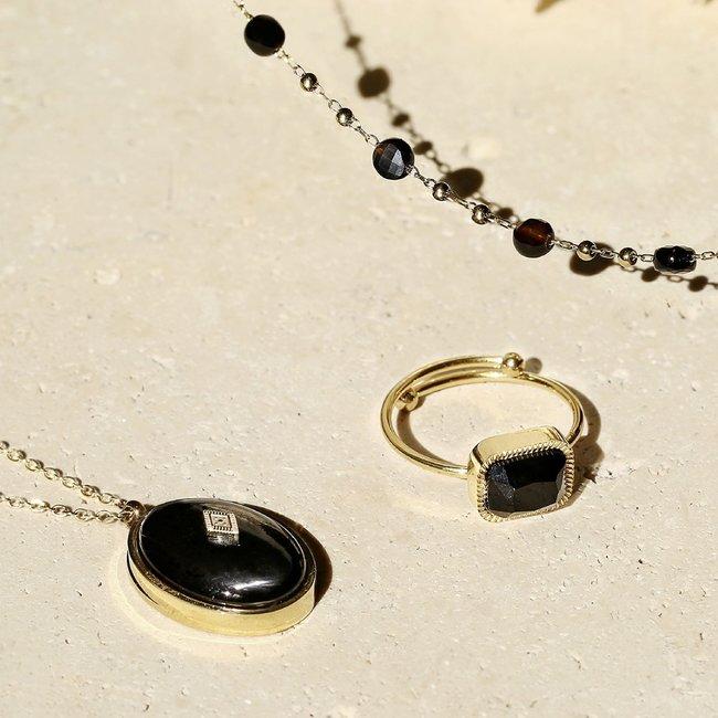 ZAG  Bijoux Gouden ring met vierkante steen zwart