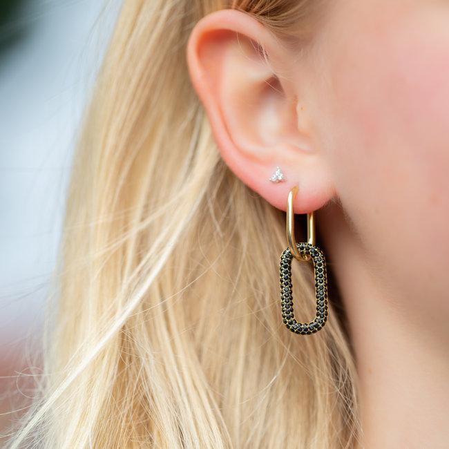 Go Dutch Label Shiny ovaal oorbellen zwart