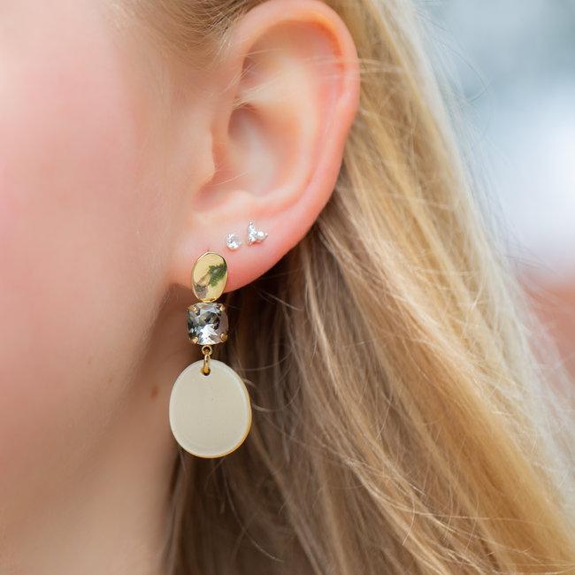 Biba Beige oorbellen met mooie strass steen