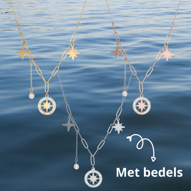 IXXXI Collier Sparkle ketting in goud, zilver of rosegoud