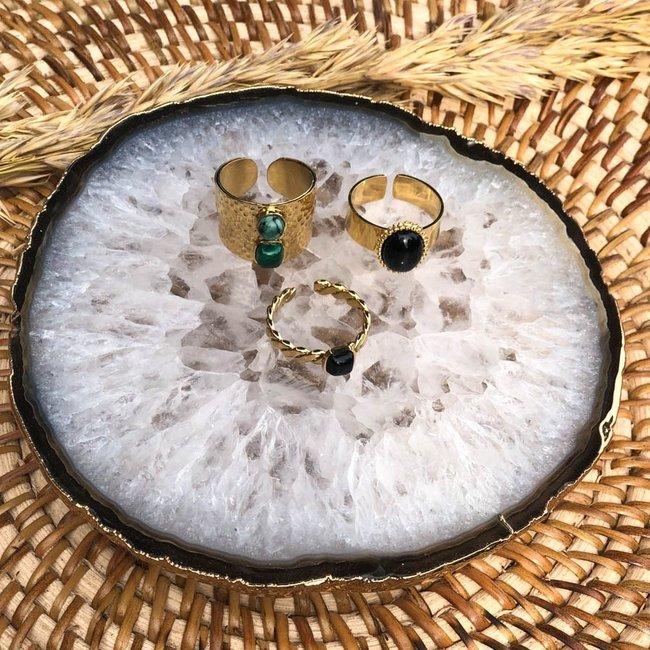 ZAG  Bijoux Gouden trendy ringen met zwarte of groene steen
