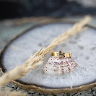 ZAG  Bijoux Gouden ring klaver en crystal