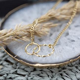 Go Dutch Label Goud schakelketting met verbonden ringen