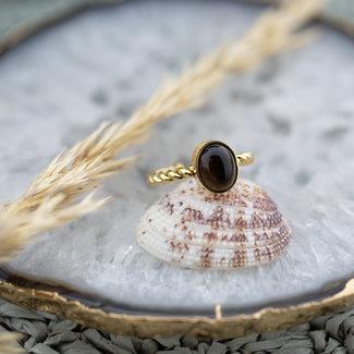 ZAG  Bijoux Goud gevlochten ring met bruine steen