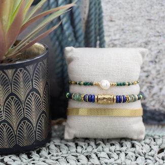 ZAG  Bijoux Goudkleurige armbanden met groen en blauw