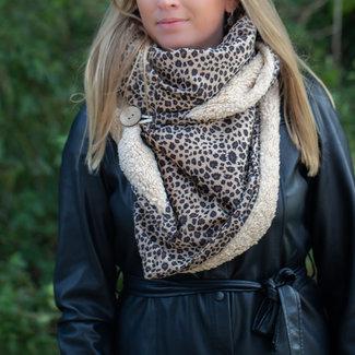 Warme teddy tijger sjaal in zwart of camel