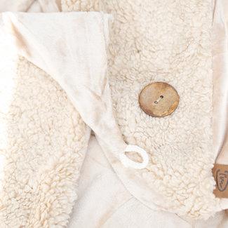 Warme teddy sjaal in creme