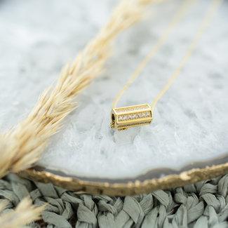 ZAG  Bijoux Goudkleurige ketting met kubus pendant