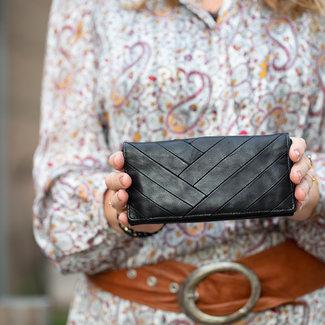Echt leren zwarte kleur portemonnee zigzag