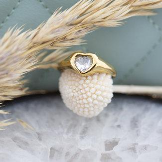 By Jam Gioielli Goud ring met crystal hart