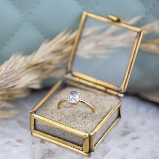 By Jam Gioielli Goud ring met lila rechthoek steen