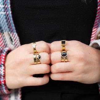 ZAG  Bijoux Trendy ringen in goud met zwart