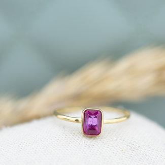 By Jam Gioielli Goud ring met fuchsia roze rechthoek steen