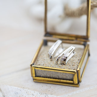 KARMA Echt zilver crystal oorbellen drie rij