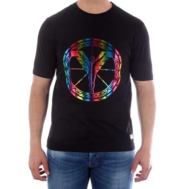 Carlo Colucci   T-shirt met Multicolor logo
