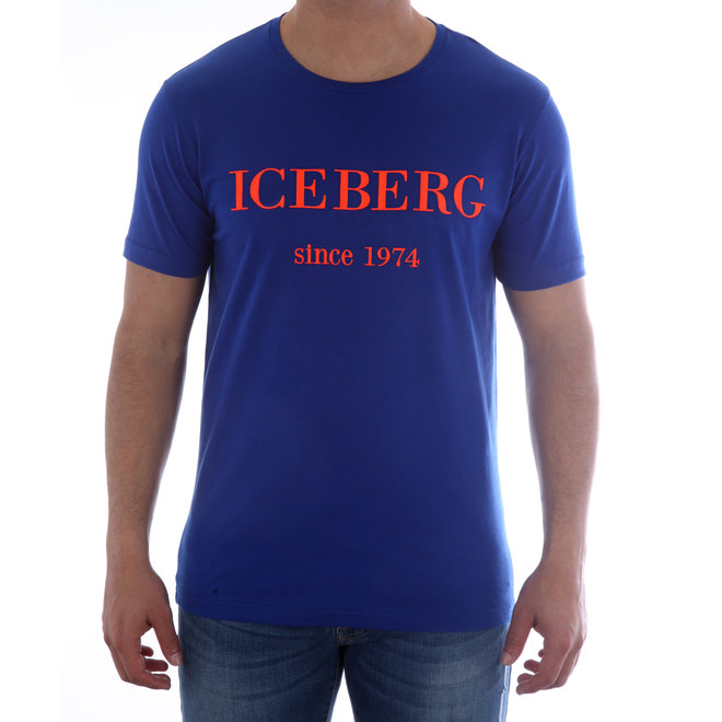 Iceberg | T-shirt | Blauw met logo rood