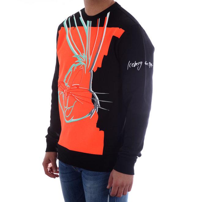 Iceberg | Sweater met Looney Tunes Bugs Bunny | Zwart / Rood | 20EI1P0E05563119000