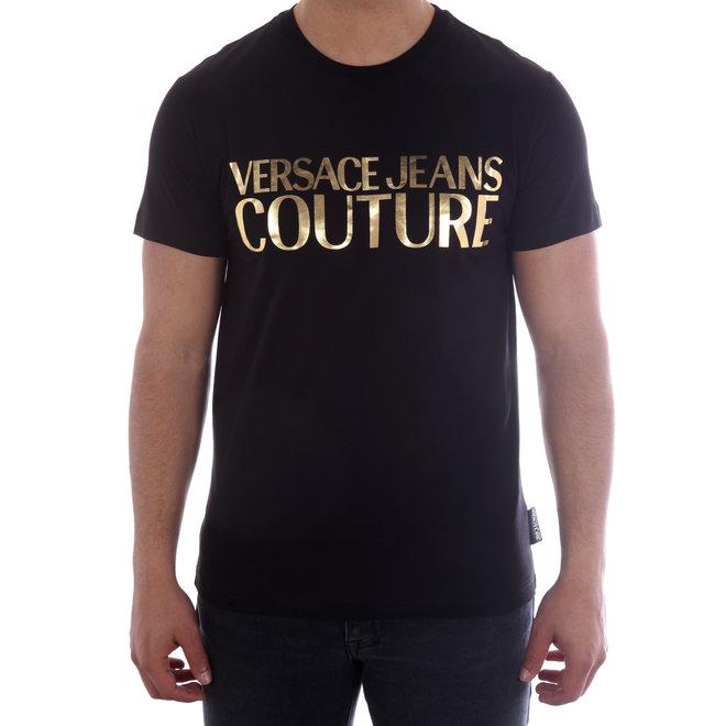 Versace Jeans Couture | T-shirt met logo | Zwart/Goud | B3GUA7TR36610Y6A