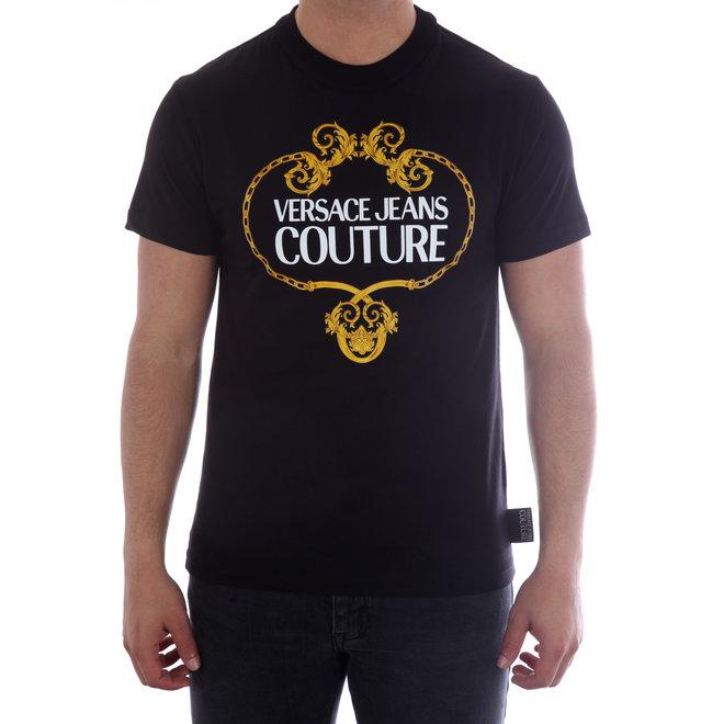 Versace Jeans Couture   T-shirt met logo   Zwart/Goud