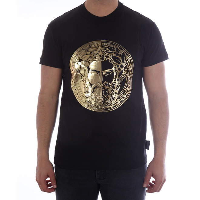 Versace Jeans Couture | T-shirt met opdruk Baroque | Zwart/Goud | B3GVA7GE30314K42