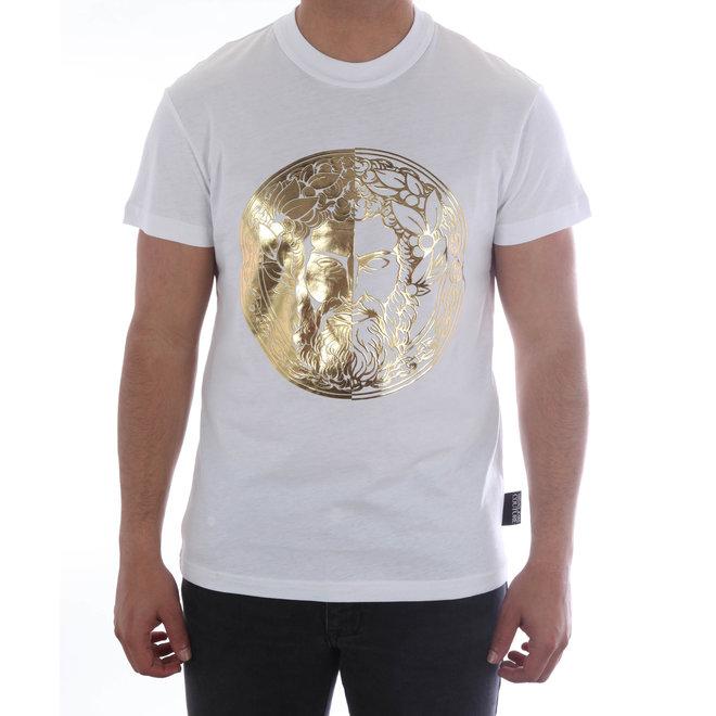 Versace Jeans Couture   T-shirt met opdruk Baroque   Wit /Goud