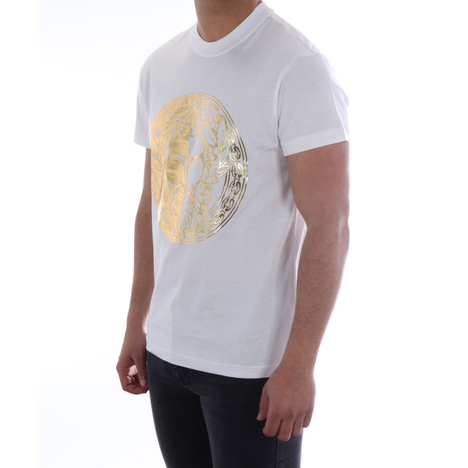 Versace Jeans Couture   T-shirt met opdruk Baroque   Wit /Goud   B3GVA7GE30314K41