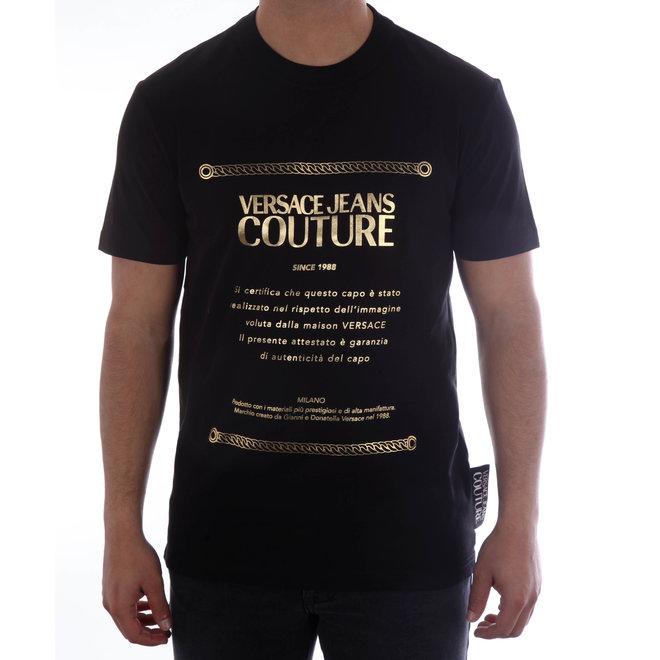 Versace Jeans Couture | T-shirt met opdruk | Zwart/Goud Metallic