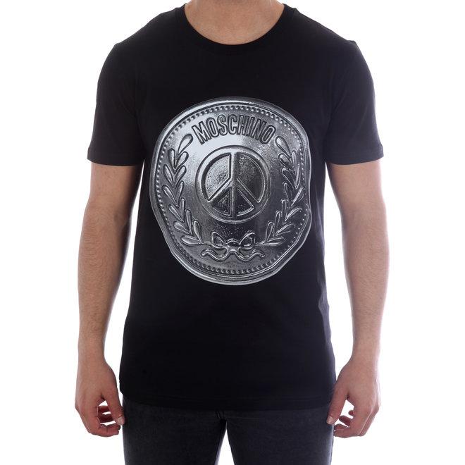 Moschino   T-shirt Moschino Peace Coin   Zwart / Zilver
