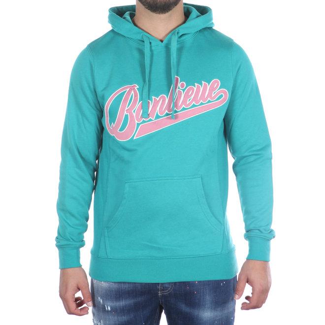 Banlieue | Hoodie Turquoise met roze logo | Hooded Script Turqoise