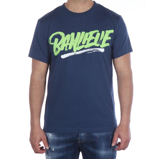 Banlieue | T-shirt Script Print Navy