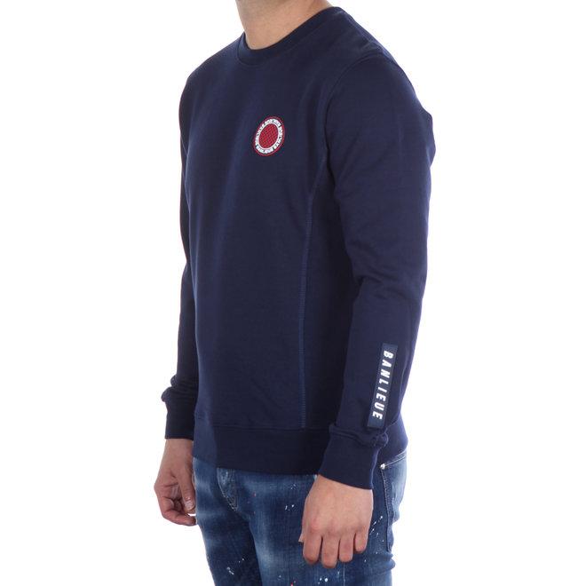 Banlieue | Sweater donkerblauw met logopatch | Crewneck Patch Navy