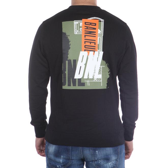 Banlieue   Sweater BNL zwart   Crewneck Sweater Script Black