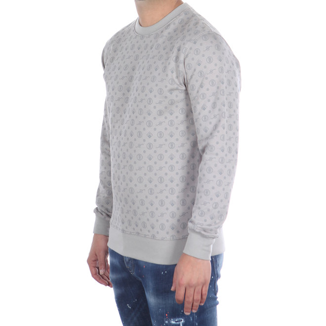 Banlieue | Sweater All Over Print Grijs | Crewneck Sweater All Over Pattern Grey