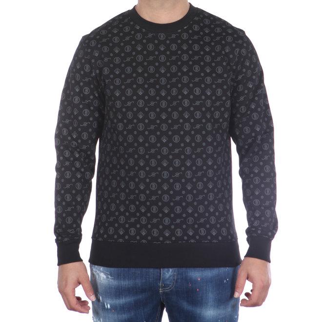 Banlieue   Sweater Zwart met All Over Patroon   Crewneck Sweater All Over Pattern Black