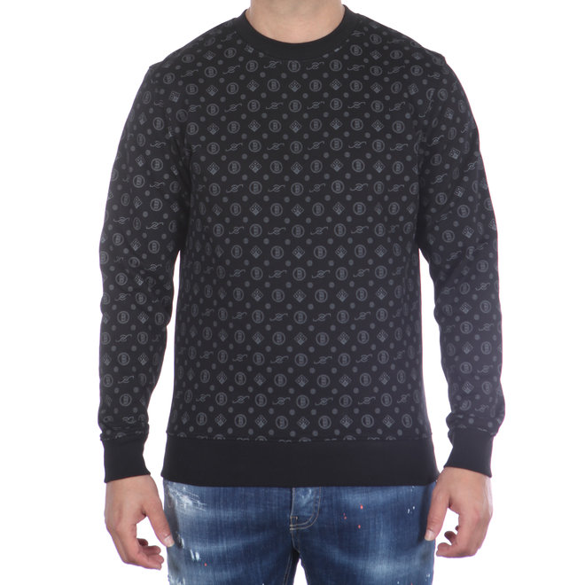 Banlieue | Crewneck Sweater All Over Pattern Black