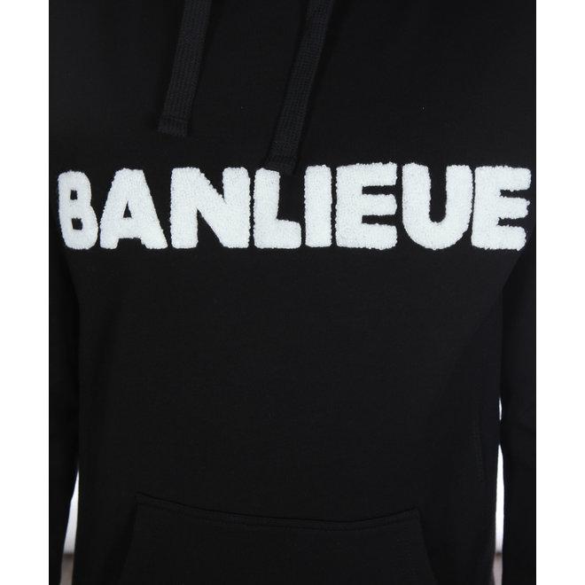 Banlieue | Hoodie Zwart met Wit Logo | Hooded Felt Black