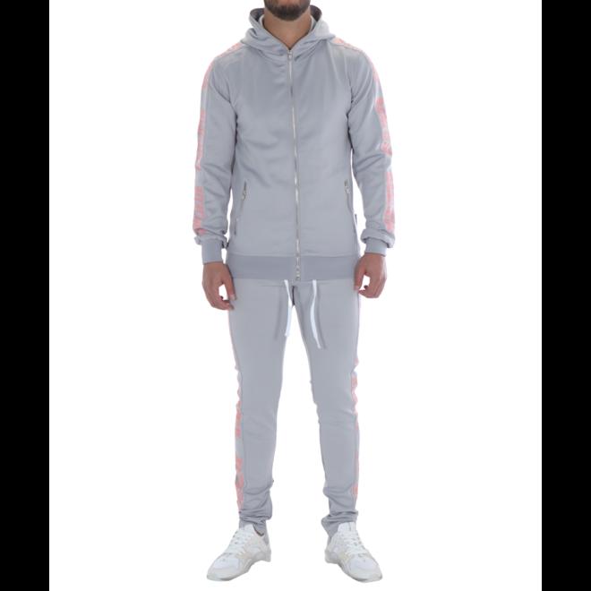Banlieue | Fullzip Tracksuit - Light Grey | Trainingspak licht grijs met roze
