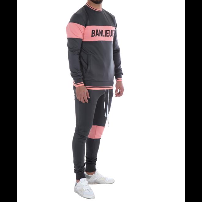 Banlieue | Band Tracksuit | Dark Grey / Pink | Trainingspak donker grijs met roze