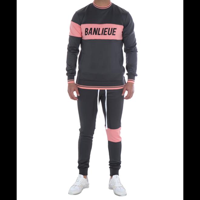Banlieue | Band Tracksuit | Dark Grey / Pink