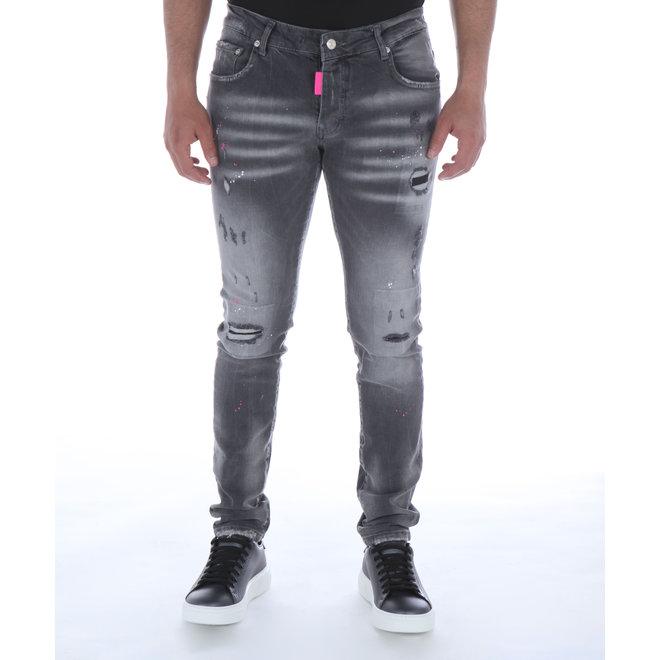 My Brand | Jeans Grijs met Roze label