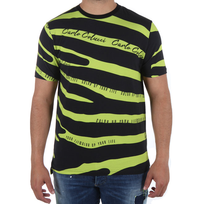 Carlo Colucci | 'Color up your life' t-shirt Neon / Zwart