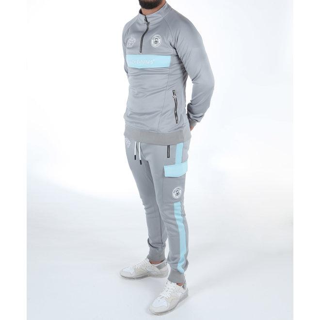 Black Bananas | Anorak Collar Tracksuit Grey / Light Blue