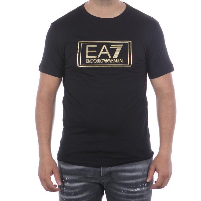 EA7 | T-shirt zwart met goud logo | 6HPT51 PJM9Z 1200